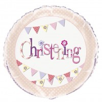 """Christening Pink 18"""" Foil Balloon Packaged"""