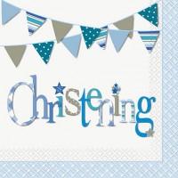 Christening Blue Luncheon Napkins 16CT.