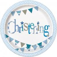 "Christening Blue 9"" Plates 8CT."