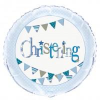 "Christening Blue 18"" Foil Balloon Packaged"