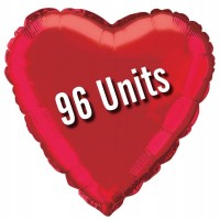 """Red - Heart Shape 18"""" (Pack of 96, Flat)"""
