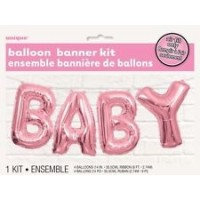 Balloon Banner Kit - BABY (Pink) - (Air Fill Only)