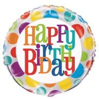 "Happy Birthday - Rainbow Dots - 18"" Foil Balloon"