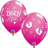 "BABY GIRL FOOTPRINTS & HEARTS 11"" ROSE (25CT)"