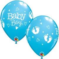 "BABY BOY FOOTPRINTS & HEARTS 11"" ROBIN'S EGG BLUE (25CT)"