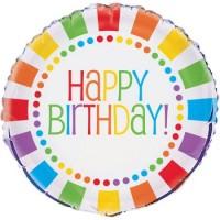 """Rainbow Birthday 18"""" Foil Balloon"""
