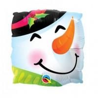 """Snowman Fun Face 9"""" Air Inflation Foil Balloon - Flat"""