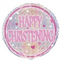 "Happy Christening Pink - 18"" Foil Balloon"