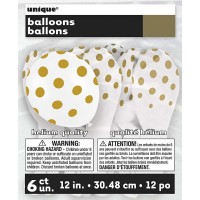 "Gold. Dots Polka 12"" Latex Balloon - Helium Quality"