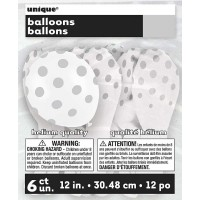 "Silver. Dots Polka 12"" Latex Balloon - Helium Quality"