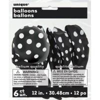 Midnight Black. Dots 12'' Latex Balloon - 6 CT.