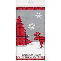 """Plastic Tablecover 54"""" X 84"""" - Rustic Christmas Plaid"""
