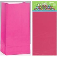 Paper Party Bags - Hot Pink 12ct