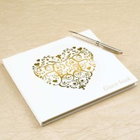 Vintage Romance Guest Book - Ivory & Gold 1ct