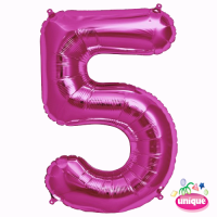 """34"""" Pink Number 5 foil balloon"""