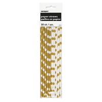 Gold. Dots Paper Straws 10 CT.