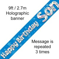 Happy Birthday Son Holographic 9ft Banner