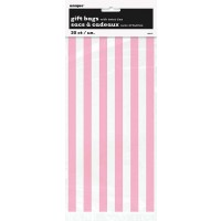 "Lovely Pink Stripes Cello Bags 20CT - 11""H x 5""W"