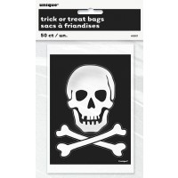 "Skeleton Plastic Treat Bags 6""H x 4""W 50CT."
