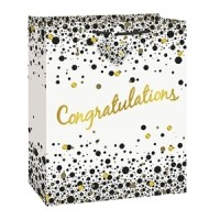 "Speckled Black/Silver Congratulations - Gift Bag Large 12.5""H x 10.5""W"