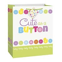 "Cute As A Button Large Glossy Gift Bag 12½""H x 10½""W"