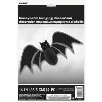 "Bat Honeycomb Hanging Swirl Decoration 14"""