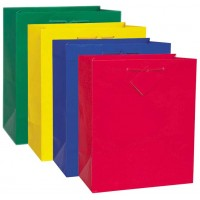 12 Solid Colour Primary Gift Bags - Assorted Colours