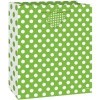 """Lime Green. Dots Medium Gift Bag - 9""""H x 7""""W"""
