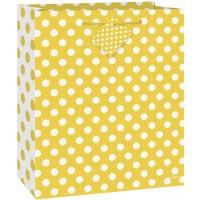 "Sunflower Yellow. Dots Medium Gift Bag - 9""H x 7""W"