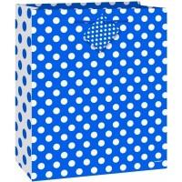 """Royal Blue. Dots Medium Gift Bag - 9""""H x 7""""W"""