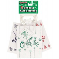 "Christmas Small Gift Bag - White 5.5""H x 4.5""W 3CT. Assorted Designs"