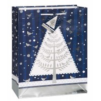 "Silver Snowy Night Holiday Large Gift Bag 12.75""H x 10.25""W"