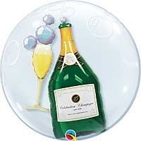 "Bubbly Wine Bottle & Glass 24"" Double Bubble"