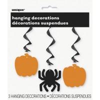 """Pumpkin & Spider Hanging Swirl Decoration 26""""L 3CT."""
