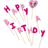 """Disney Minnie Mouse Candles """"Happy Birthday"""" Toothpick"""