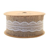 Jute with White Lace Ribbon (50mm x 5yds)