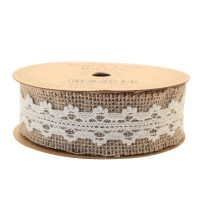 Jute with Cream Lace Ribbon (35mm x 5yds)
