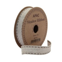 Meadow Ribbon Woven Beige with Beige Stitch (17mm x 5m)