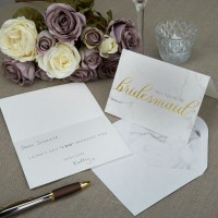 Scripted Marble - Bridesmaid Cards with Envelopes - 3ct