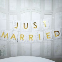 Scripted Marble - Just Married Bunting Large - 2.5m