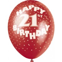 "Happy 21st 12"" Latex Helium Fill Balloon - Pearlized Assorted Colours, Printed All Around - 5ct"