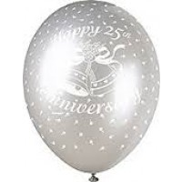 "25th Anniversary Silver 12"" Latex Helium Fill Balloon - Pearlized Assorted Colours, Printed All Around - 5ct"