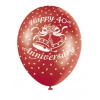 "40th Anniversary Ruby 12"" Latex Helium Fill Balloon - Pearlized Assorted Colours, Printed All Around - 5ct"