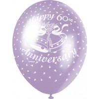 "60th Anniversary Diamond 12"" Latex Helium Fill Balloon - Pearlized Assorted Colours, Printed All Around - 5ct"
