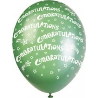 "Congratulations 12"" Latex Helium Fill Balloon - Pearlized Assorted Colours, Printed All Around - 5ct"