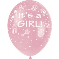 "It's A Girl 12"" Latex Helium Fill Balloon - Pink, Printed All Around - 5ct"