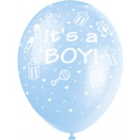 "It's A Boy 12"" Latex Helium Fill Balloon - Blue, Printed All Around - 5ct"