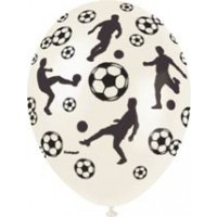 "Football 12"" Latex Helium Fill Balloon - Pearlized Assorted Colours, Printed All Around - 5ct"