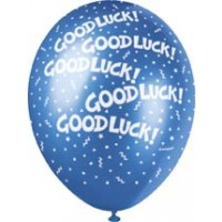"Good Luck 12"" Latex Helium Fill Balloon - Pearlized Assorted Colours, Printed All Around - 5ct"