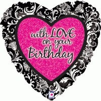 """with LOVE on your Birthday - 18"""" Foil Balloon"""